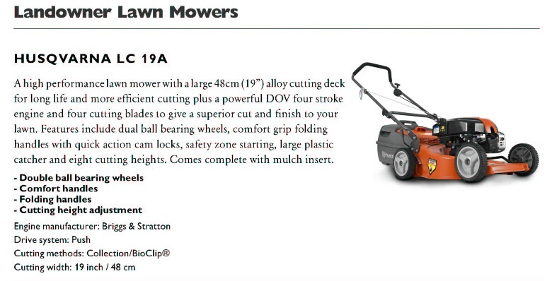 Husqvarna LC19A Alloy body lawnmower